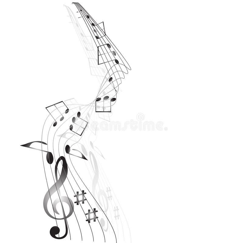 Fondo del personale delle note musicali su bianco. illustrazione di stock