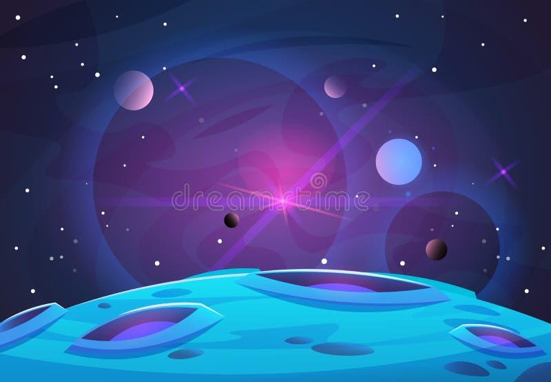 Fondo del pianeta e dello spazio I pianeti sorgono con i crateri, le stelle e le comete nello spazio scuro Illustrazione di vetto illustrazione vettoriale