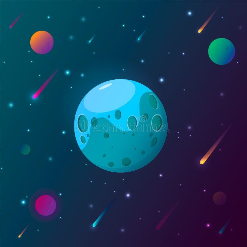 Fondo del pianeta e dello spazio I pianeti sorgono con i crateri, le stelle e le comete nello spazio scuro Illustrazione di vetto royalty illustrazione gratis