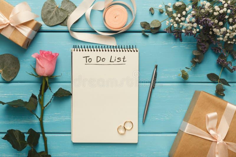 Fondo del pianificatore di nozze fotografie stock libere da diritti