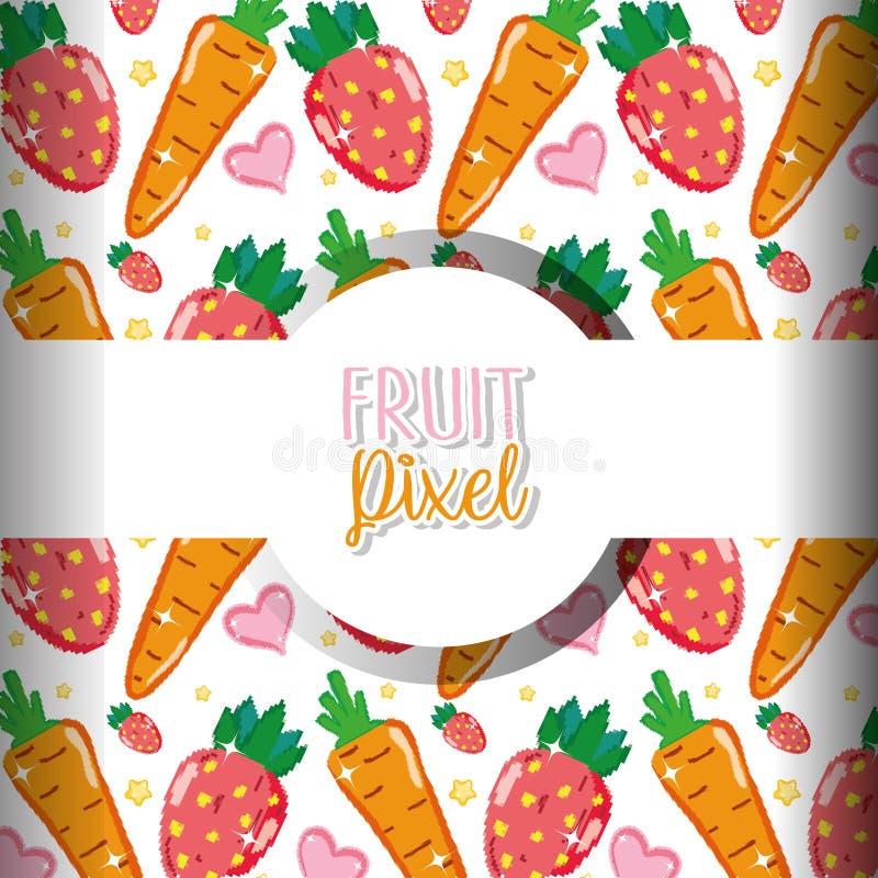 Fondo del pixel de la fruta stock de ilustración