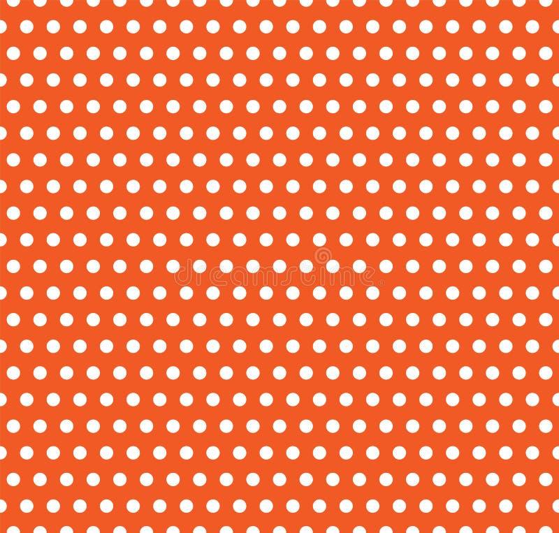 Fondo del pois di vettore di Halloween Struttura senza cuciture senza fine della luce bianca e dell'arancia Modello di giorno di  royalty illustrazione gratis