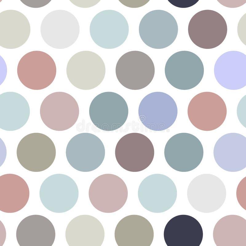 Fondo del pois, modello senza cuciture Punto di colore pastello su fondo bianco Vettore illustrazione di stock