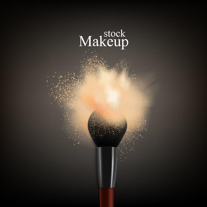 Fondo del polvo del cepillo del maquillaje libre illustration