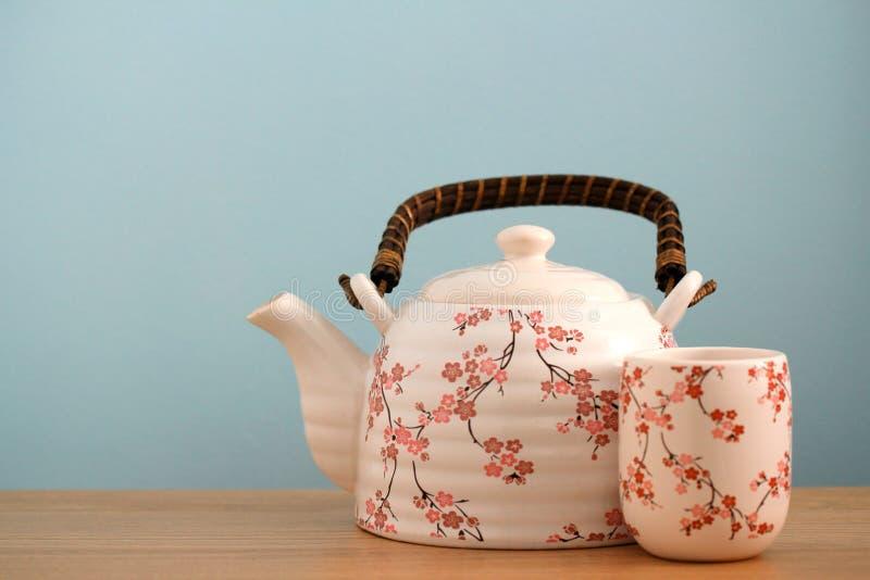 Fondo del pote del té imágenes de archivo libres de regalías