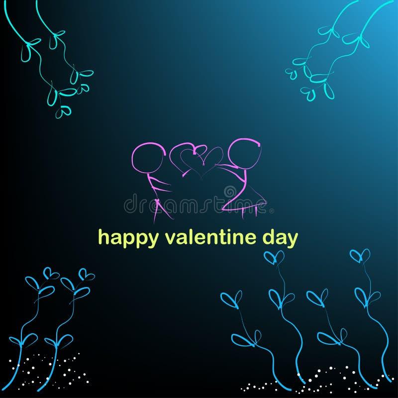 Fondo del ragazzo e della ragazza e cuori nelle illustrazioni di vettore di giorno di S. Valentino illustrazione di stock