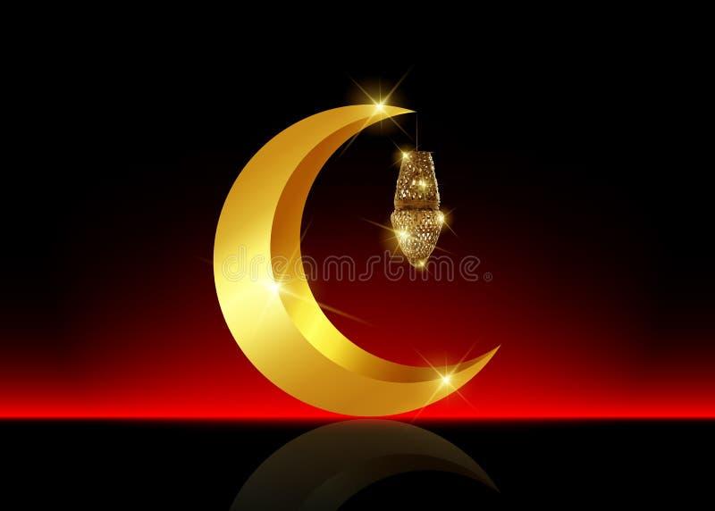Fondo del Ramadán Mubarak Diseño de la tarjeta de felicitación de Ramadan Kareem con la linterna de la media luna y del oro Luna  stock de ilustración