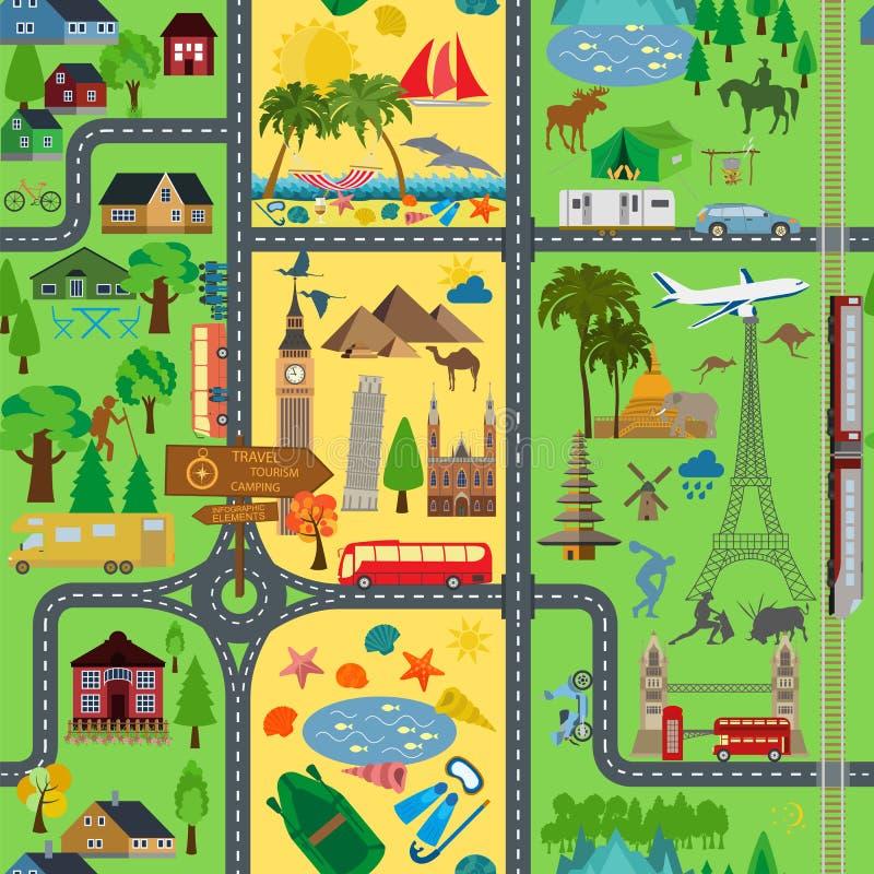 Fondo del recorrido vacaciones Complejo playero, acampando, excursión a ilustración del vector