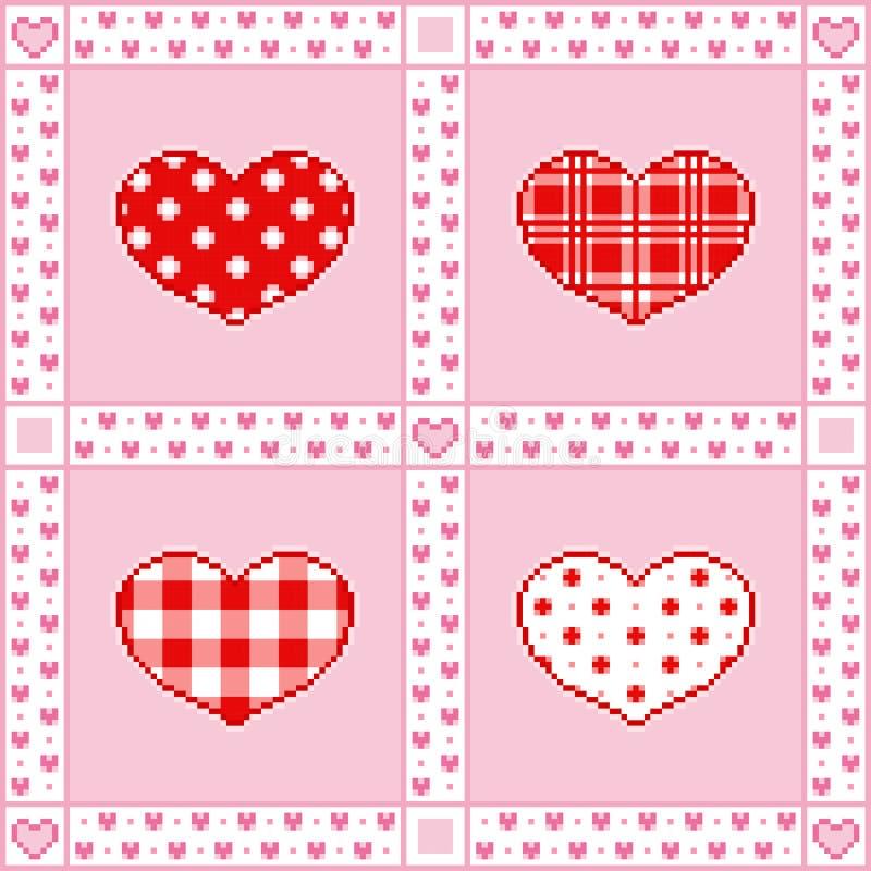 Fondo del remiendo con los corazones para los saludos del día de tarjeta del día de San Valentín en estilo del Pixel-arte ilustración del vector