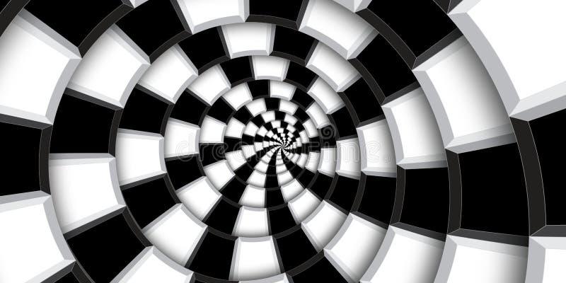 fondo del remolino del ejemplo de la representación 3d Cuadrados blancos y negros y líneas torcidos en modelo espiral abstracto R imagen de archivo libre de regalías