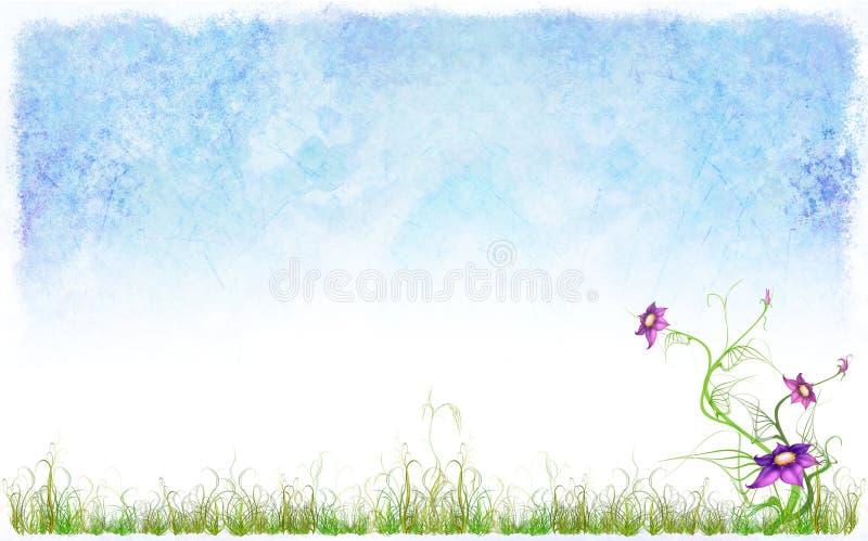 Fondo del resorte con una hierba y flores ilustración del vector