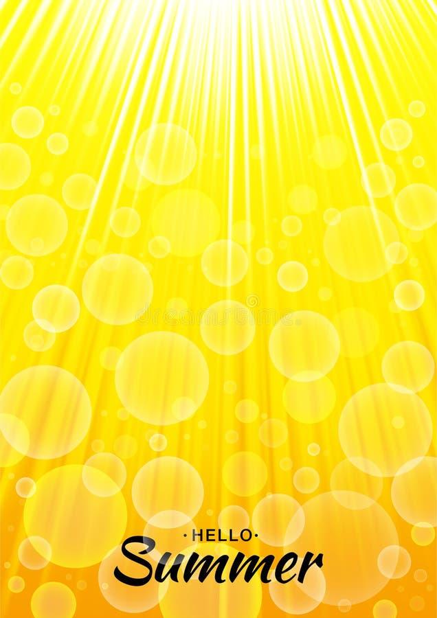 Fondo del resplandor del amarillo del vector de la plantilla del verano con los rayos y las burbujas del sol Contexto anaranjado  stock de ilustración