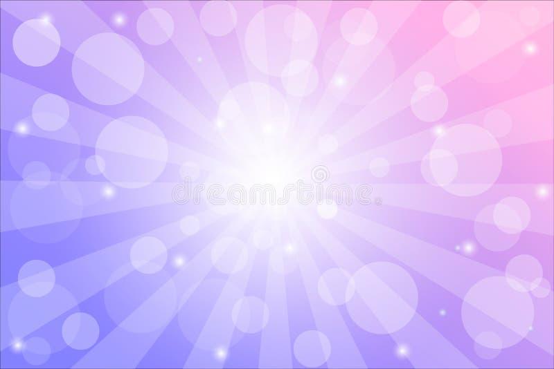 Fondo del resplandor solar con las chispas y rayos, ejemplo del vector con las luces del bokeh ilustración del vector