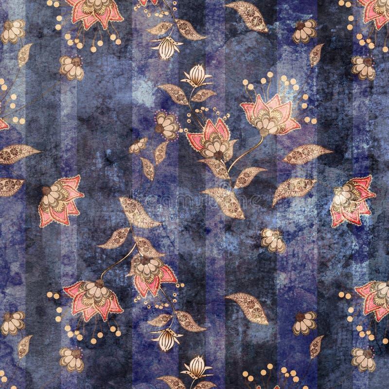 Fondo del retro modello floreale d'annata di lerciume vecchio illustrazione di stock