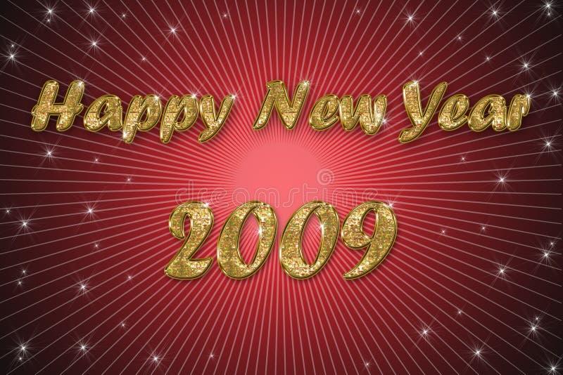 Fondo del rojo de la Feliz Año Nuevo stock de ilustración