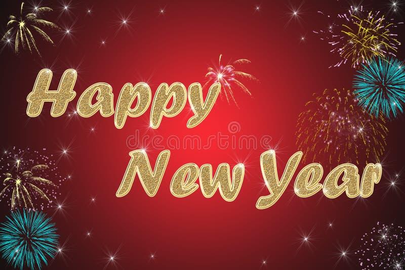 Fondo del rojo de la Feliz Año Nuevo ilustración del vector