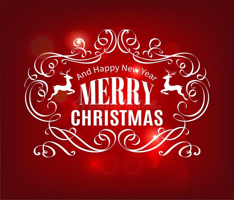 Fondo del rojo de la tipografía de la Navidad y del Año Nuevo stock de ilustración