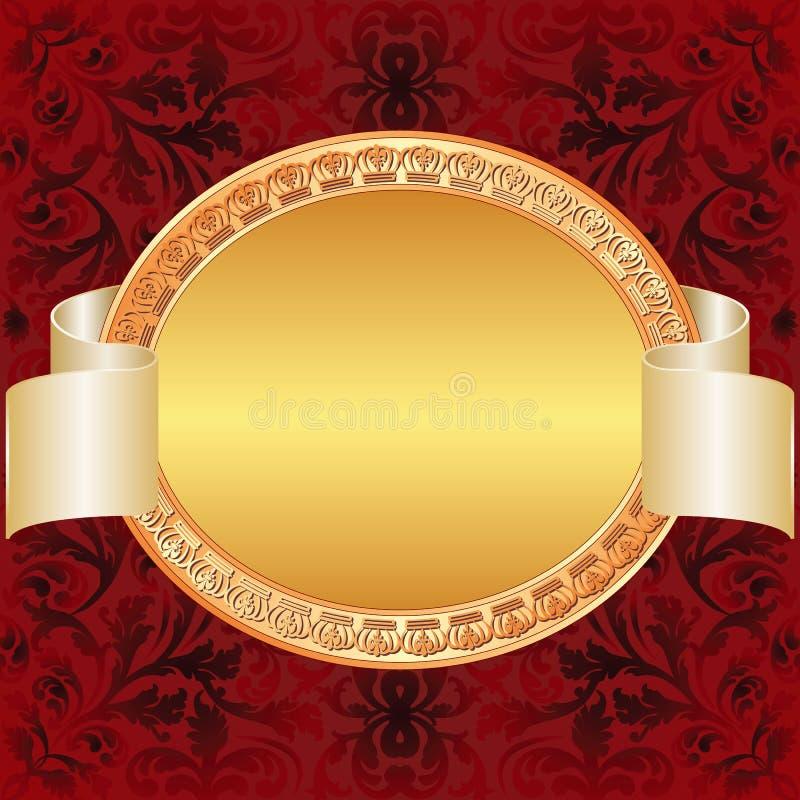 Fondo del rojo del oro stock de ilustración