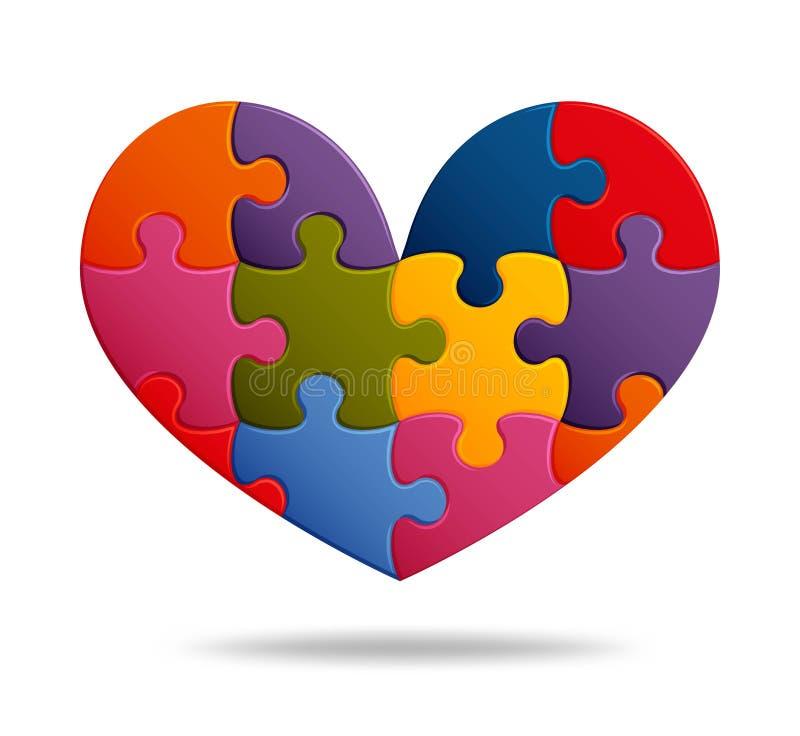 Fondo del rompecabezas con muchos pedazos coloridos Plantilla abstracta del mosaico Dimensión de una variable del corazón libre illustration