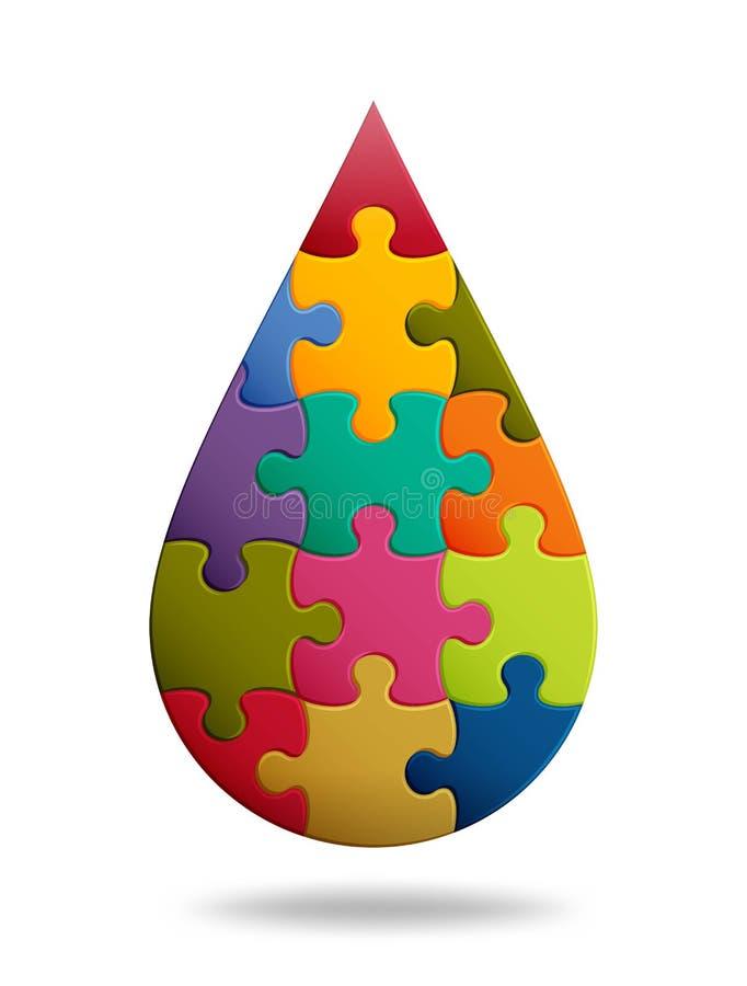 Fondo del rompecabezas con muchos pedazos coloridos Plantilla abstracta del mosaico Forma del descenso stock de ilustración