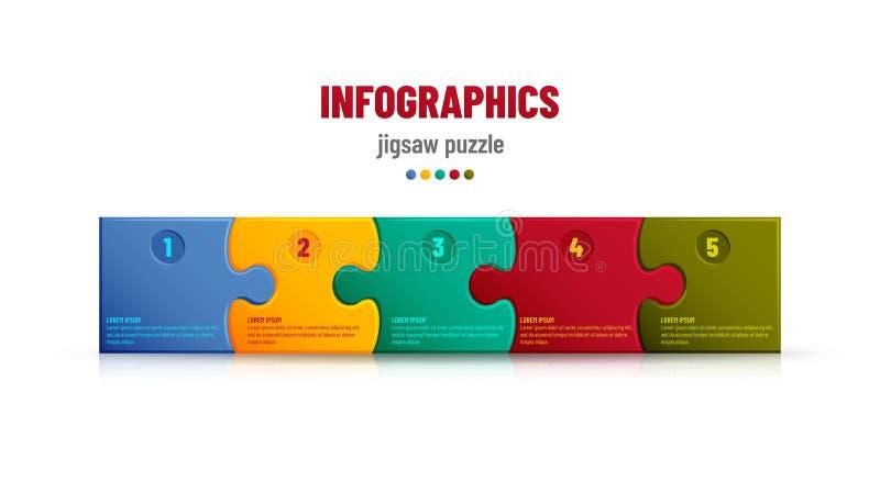 Fondo del rompecabezas con muchos pedazos coloridos Plantilla del mosaico de Infographic libre illustration