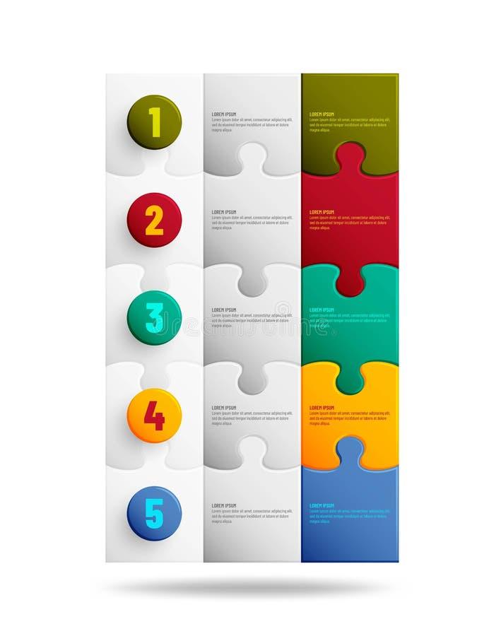 Fondo del rompecabezas con muchos pedazos coloridos Plantilla del mosaico de Infographic ilustración del vector