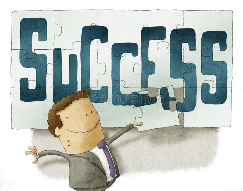 Fondo del rompecabezas del éxito stock de ilustración