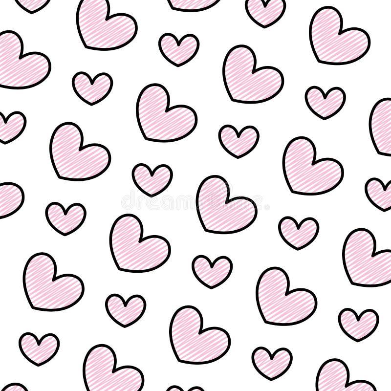Fondo del símbolo del amor del corazón de la belleza del garabato stock de ilustración