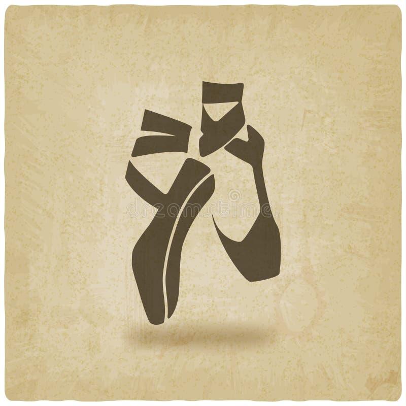 Fondo del símbolo del estudio de la danza del ballet viejo stock de ilustración