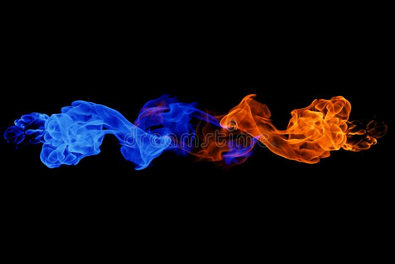 fondo del símbolo, del fuego y del hielo de Yin-Yang imagen de archivo