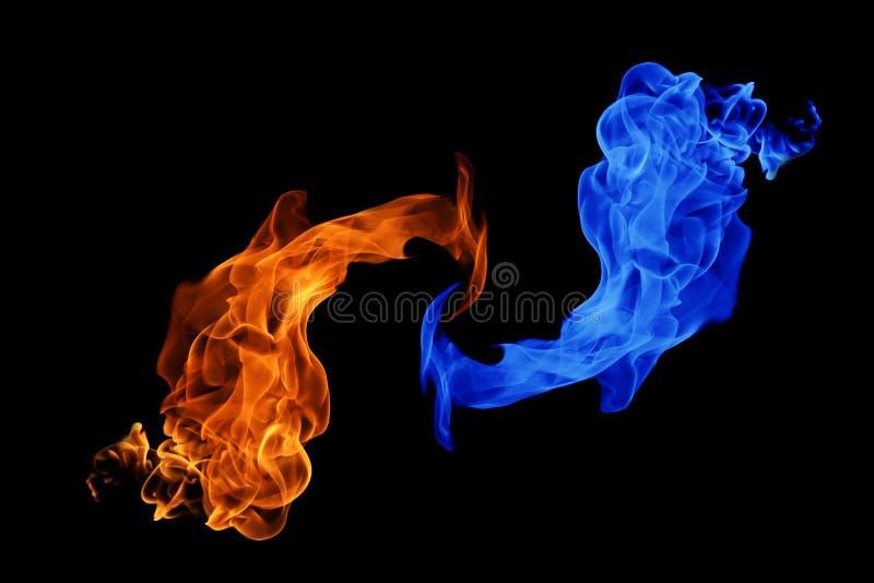 fondo del símbolo, del fuego y del hielo de Yin-Yang fotografía de archivo libre de regalías