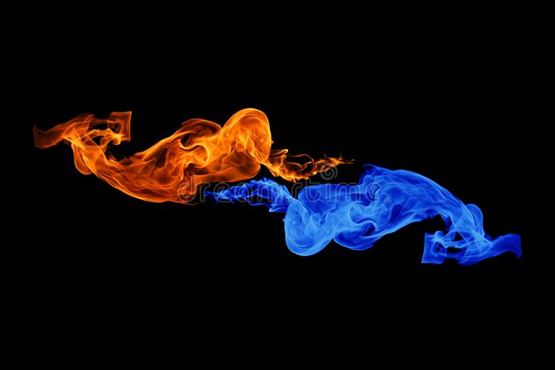fondo del símbolo, del fuego y del hielo de Yin-Yang fotos de archivo