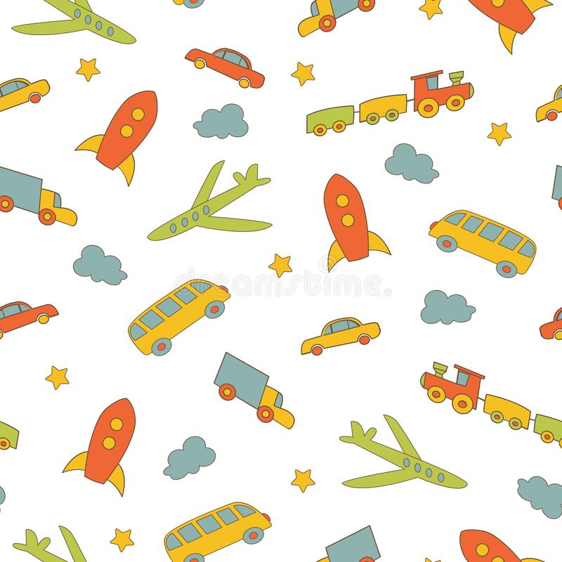 Fondo del `s de los niños Modelo inconsútil con diversos tipos de transporte libre illustration