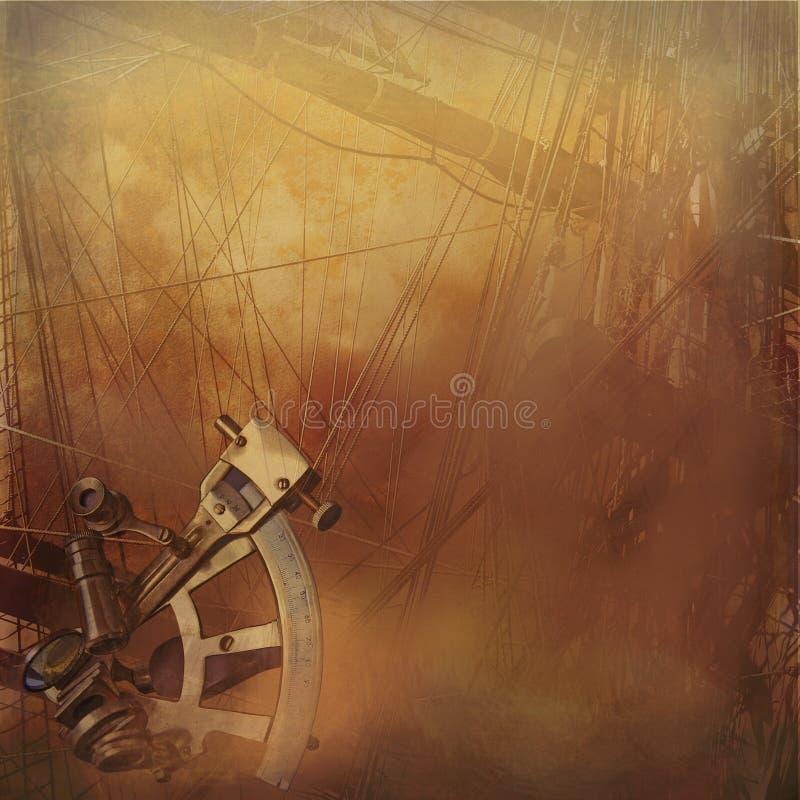 Fondo del sailship de la vendimia ilustración del vector
