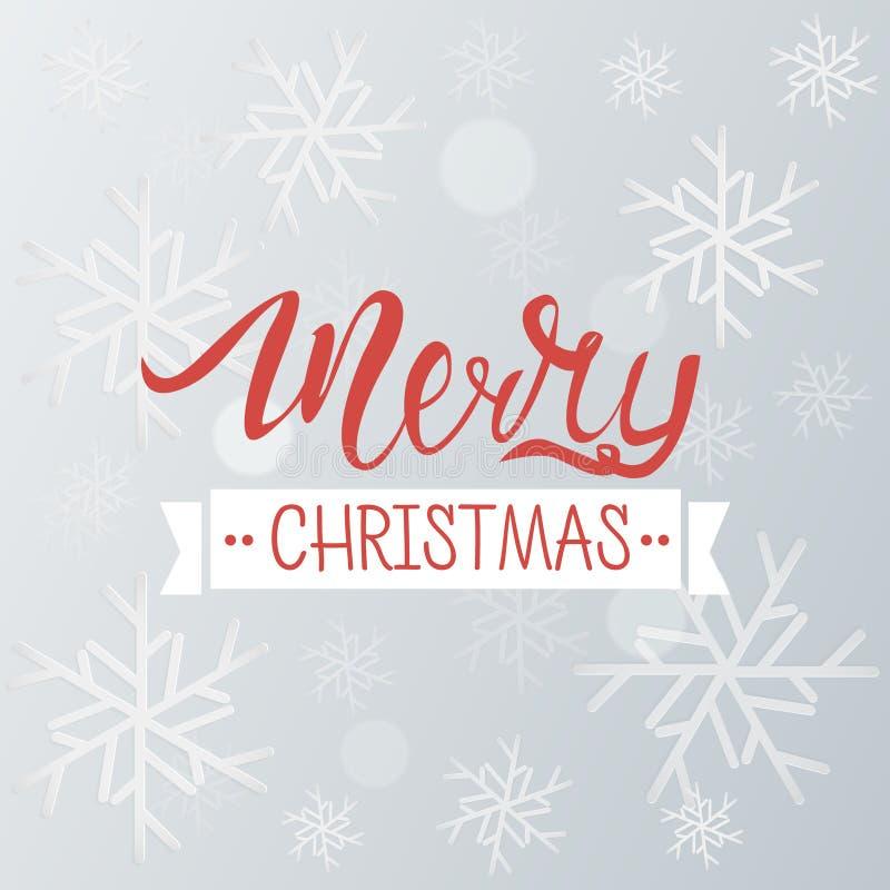 Fondo del saludo de la Feliz Navidad Plantilla del invierno del día de fiesta con los copos de nieve y el efecto del bokeh Ilustr ilustración del vector