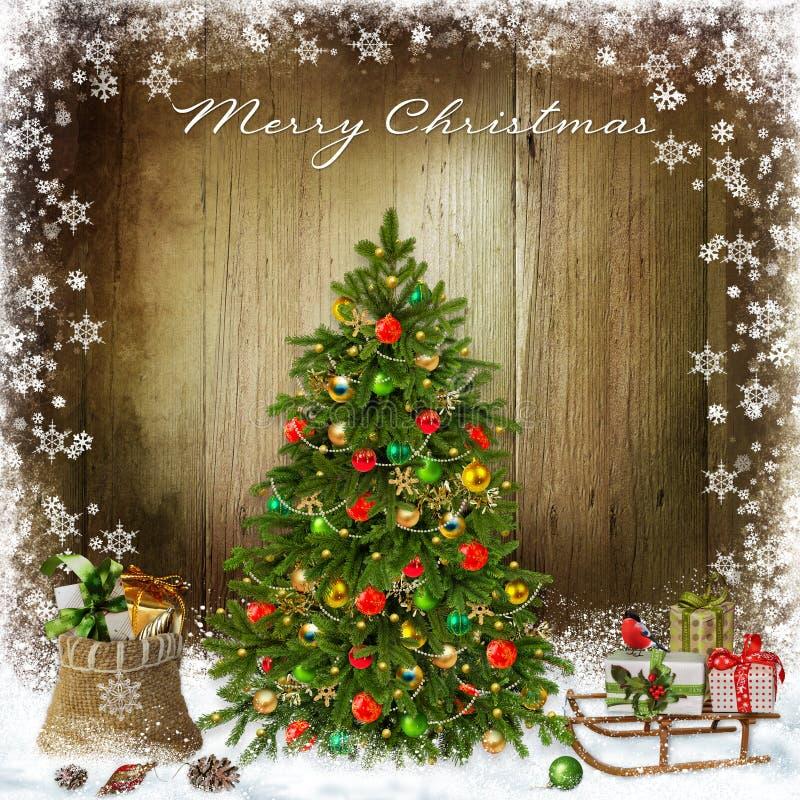 Fondo del saludo de la Navidad con el árbol de navidad y los regalos stock de ilustración