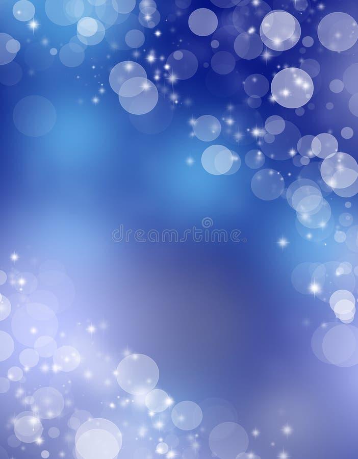 Fondo del saludo de la Navidad Fondo azul abstracto del bokeh Tarjeta de felicitación libre illustration