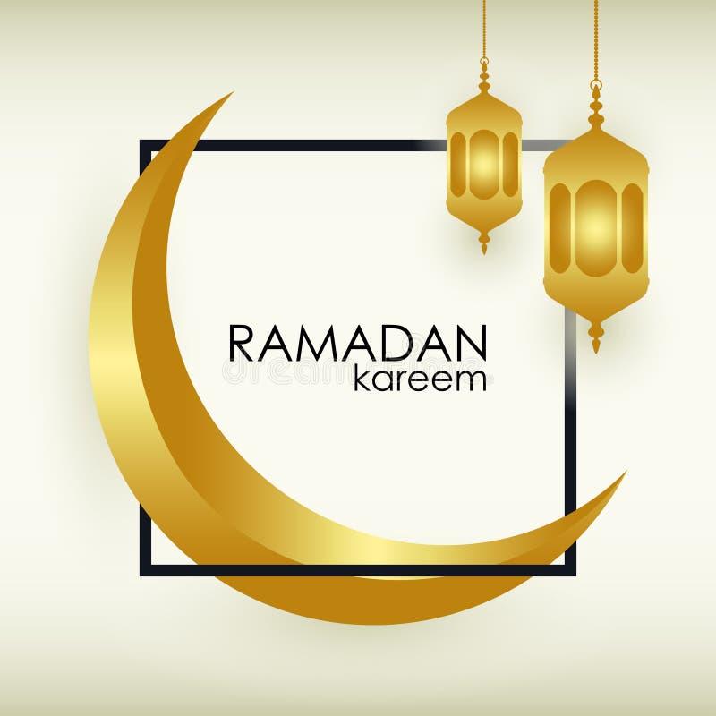 Fondo del saludo de Ramadan Kareem con la luna de oro islámica, la linterna árabe del oro y el marco Diseño para la bandera, cart ilustración del vector