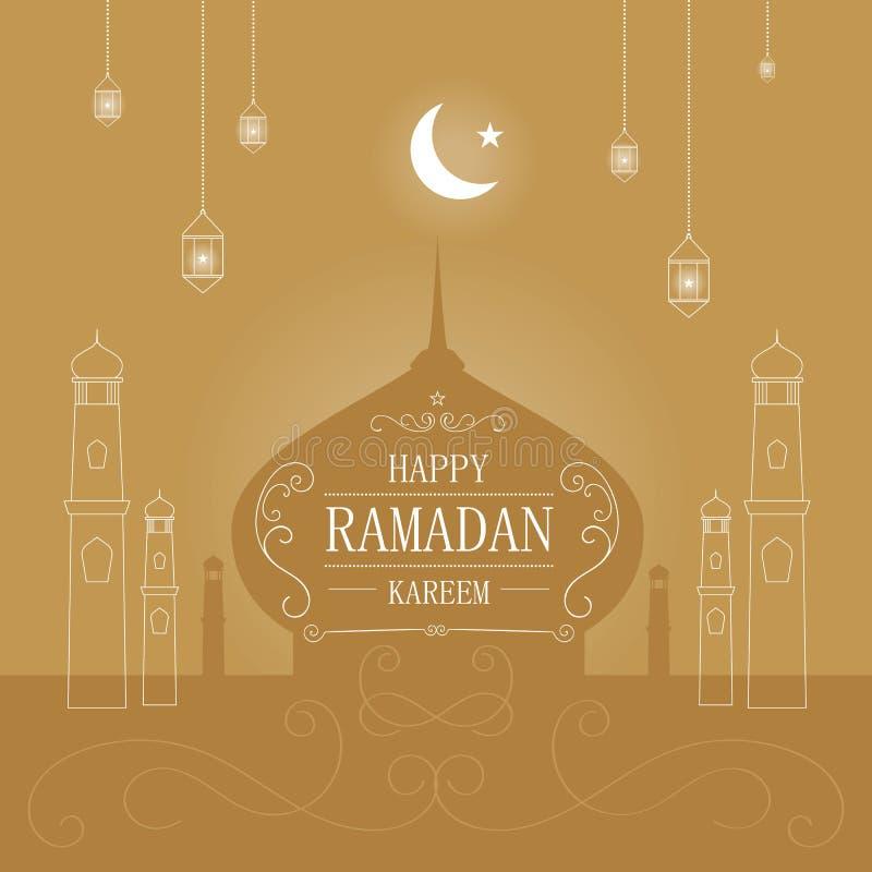 Fondo del saludo del kareem del Ramadán ilustración del vector