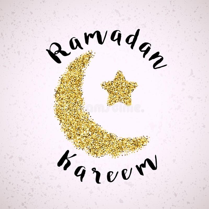 Fondo del saludo del Ramadán de la luna y de la estrella crecientes del oro ilustración del vector
