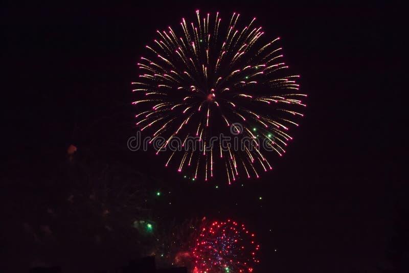 Fondo del saluto colorato multi e del primo piano dei fuochi d'artificio su un fondo nero fotografia stock libera da diritti