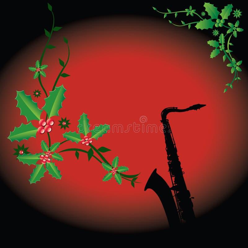 Fondo del saxofón del día de fiesta stock de ilustración