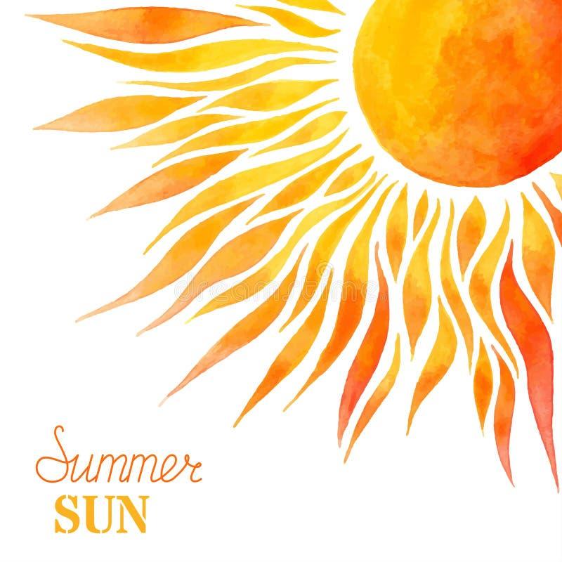 Fondo del sol del verano de la acuarela libre illustration