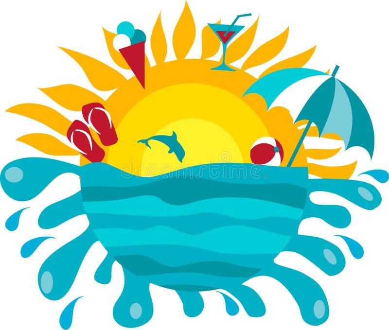 Fondo del sol y del océano libre illustration