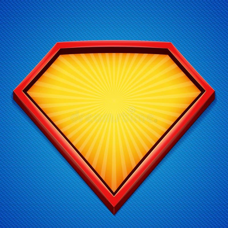 Fondo del super héroe Plantilla del logotipo del super héroe Marco rojo, amarillo con los rayos divergentes en el contexto azul I ilustración del vector