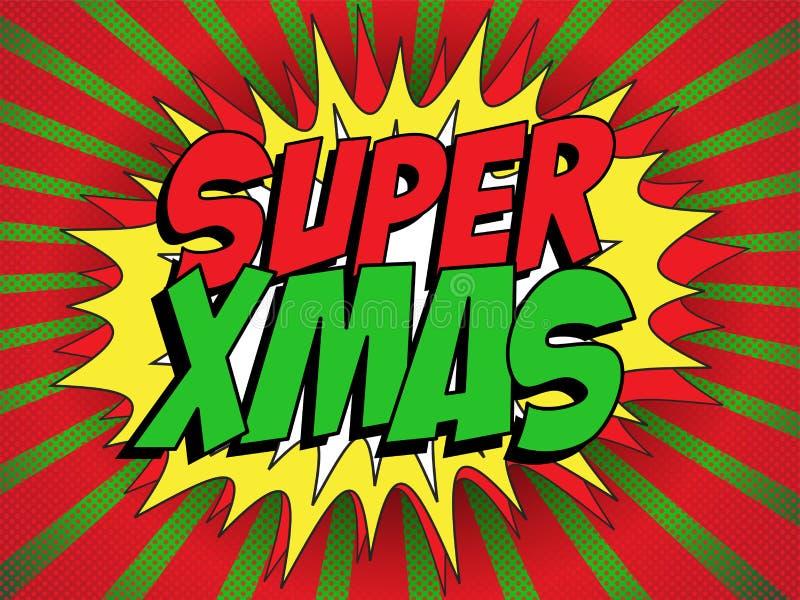 Fondo del superhéroe de la Feliz Navidad stock de ilustración