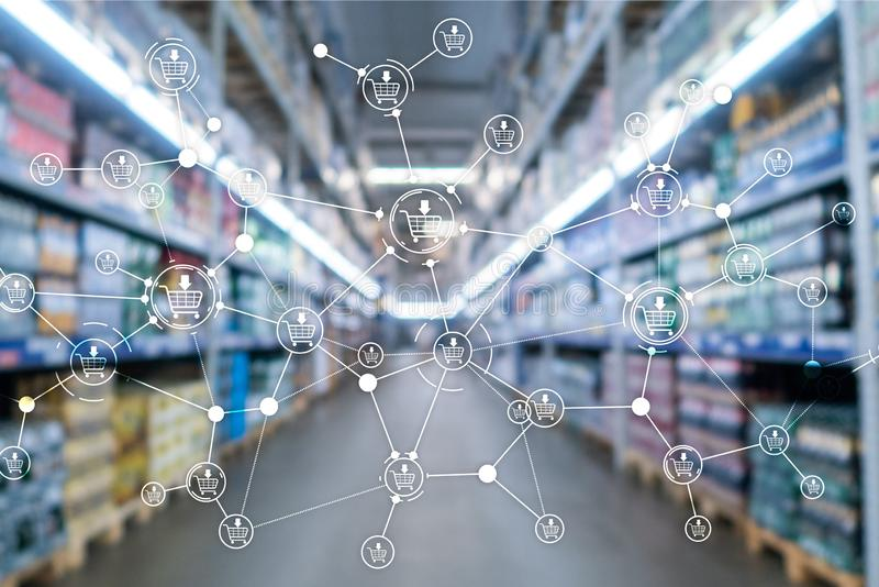 Fondo del supermercato vago commercio elettronico di vendita di vendita al dettaglio della struttura del carrello illustrazione di stock