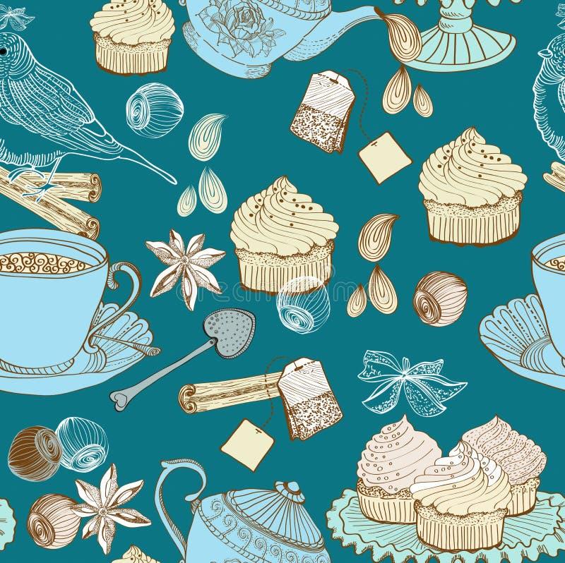 Fondo del té de la mañana de la vendimia libre illustration