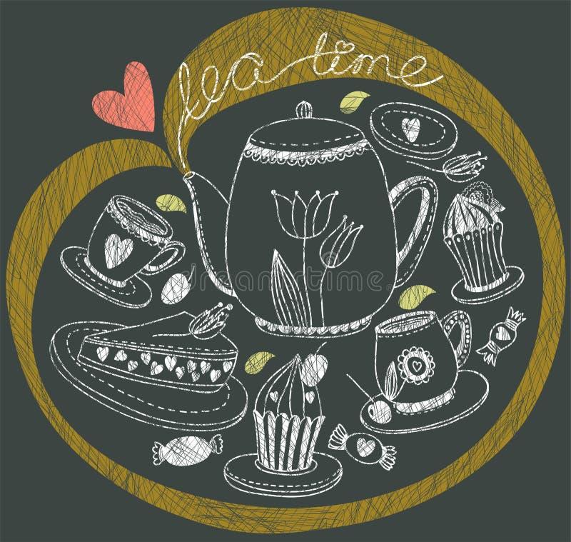 Fondo del té del vintage ilustración del vector