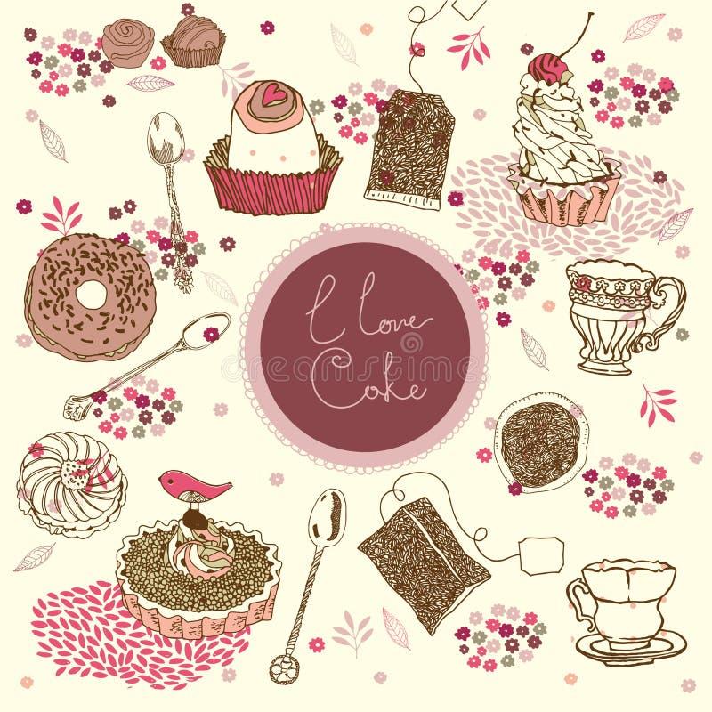 Fondo del té y de la torta ilustración del vector